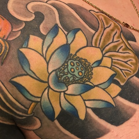 lotus tattoo chest panel