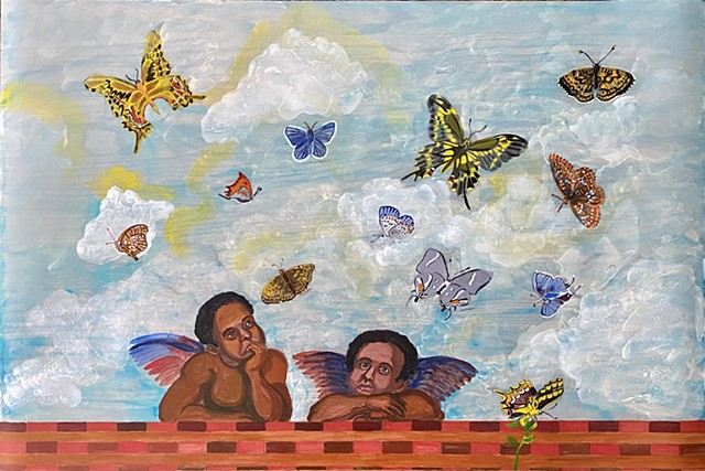 Raphael's angels with endangered butterflies of the USA