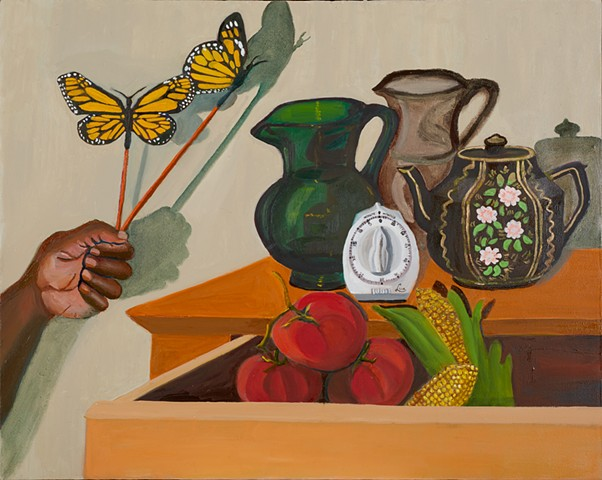 Still life with glass pitcher and monarch butterflies