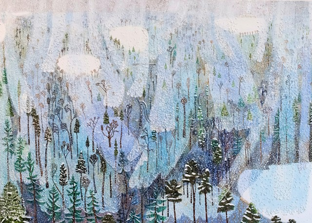 Landscape painting by Sophia Heymans of a snowy day. The snowflakes are textual and made from seeds of plants. I hope you fall down