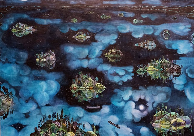 Painting of the boundary waters or the bwca at night by sophia heymans