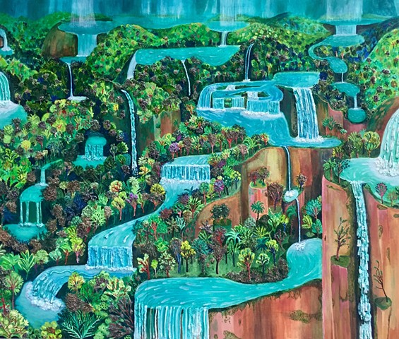 Landscape painting by Sophia Heymans of many waterfalls with moss as a main material