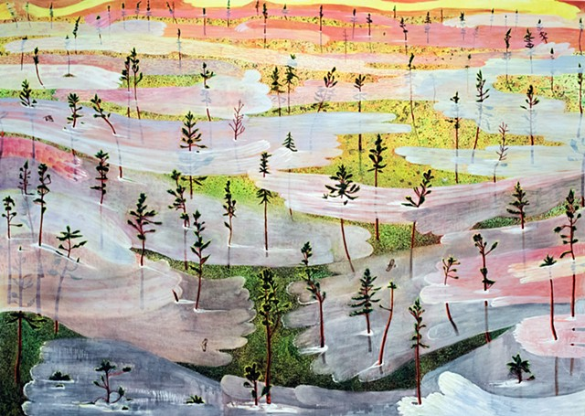 Painting by Sophia Heymans of fog rising over field with pine trees at sunrise . Inspired by Rihanna