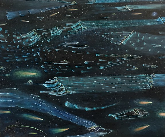 Painting by Sophia Heymans. Oil Painting of a river at night and comets and meteors reflected in the water.