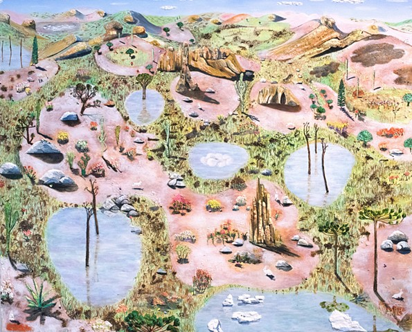Pastel colored painting by Sophia Heymans of strange landforms and Easter bunnies and Easter eggs