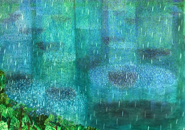 A landscape oil painting by Sophia Heymans of a rainstorm reflected into a lake. Greens and blues