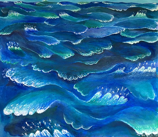 Ultramarine blue painting of the ocean with playful waves by Sophia Heymans