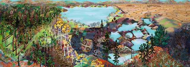 Panoramic landscape painting of Minnesota in all of its different biomes , hay bales, woods, lakes by Sophia Heymans