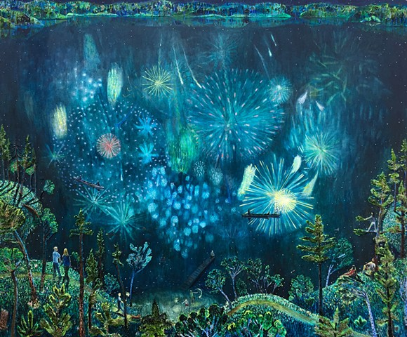 Painting by Sophia Heymans of a fire work show reflected into a Minnesota lake at night