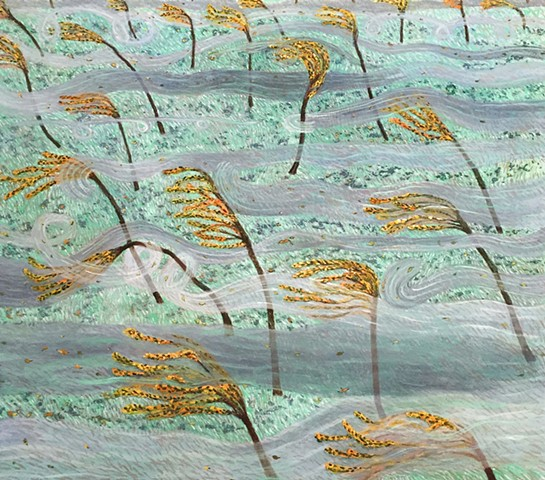 A grey, white and orange landscape painting of wind playfully wrapping around trees in the fall.  Painting by Sophia Heymans