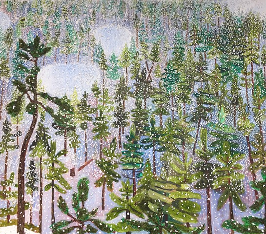 Textural landscape painting by Sophia Heymans of a snowstorm in the woods.