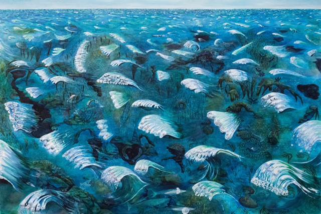 Painting by Sophia Heymans of an imaginary ocean with waves made of burrs. Dolphins, whales, hammerhead sharks, sting rays