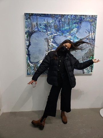 "At the Opening of ""Refugia"" at the Royal Society of American Art in Brooklyn. Curated by Amelia Biewald. Dec 2020"