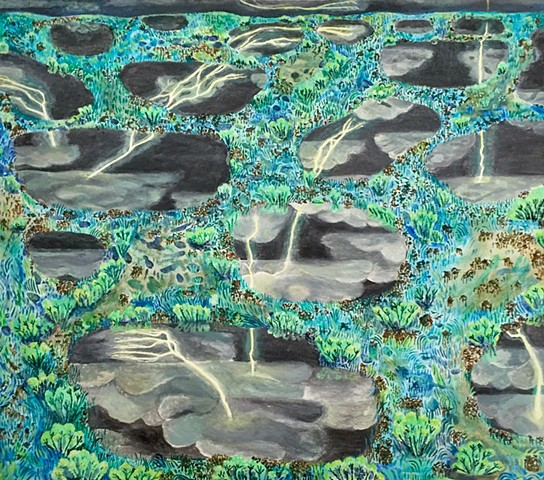 Landscape painting by Sophia Heymans of light night reflected into black pools of water at night