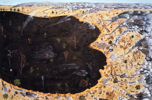 Painting of a prairie burn with smoke turning into animal ghosts by Sophia Heymans. Yellow and black landscape painting
