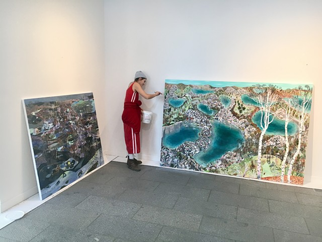 "Touching up the edges of ""The Quarries"" before hanging the show at Saint John's University. Collegeville, Minnesota. 2017"