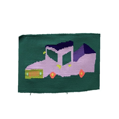 hand woven purple pick up truck tapestry