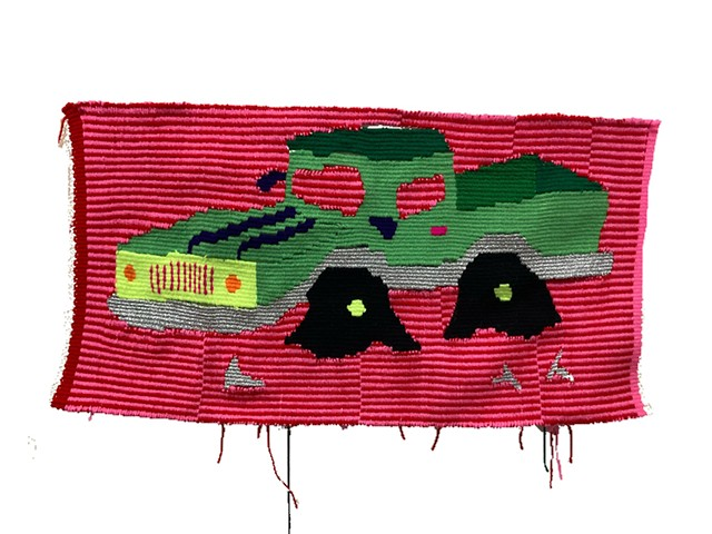 hand weaving tapestry pick up truck