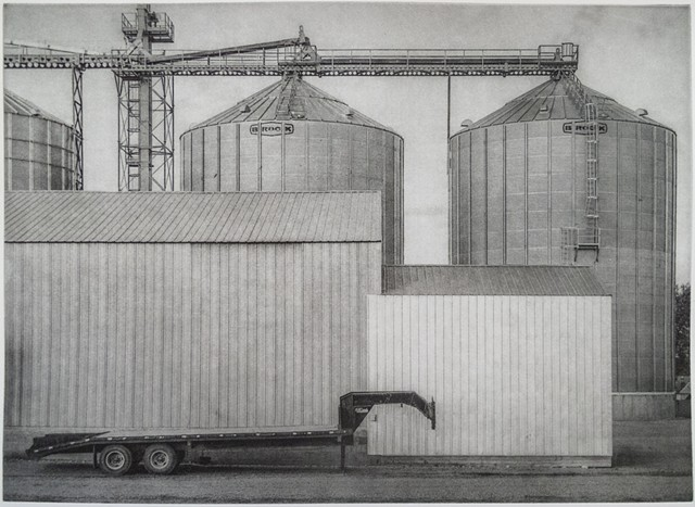 Polymer photogravure intaglio print of grain bins and elevator in McCanna, North Dakota