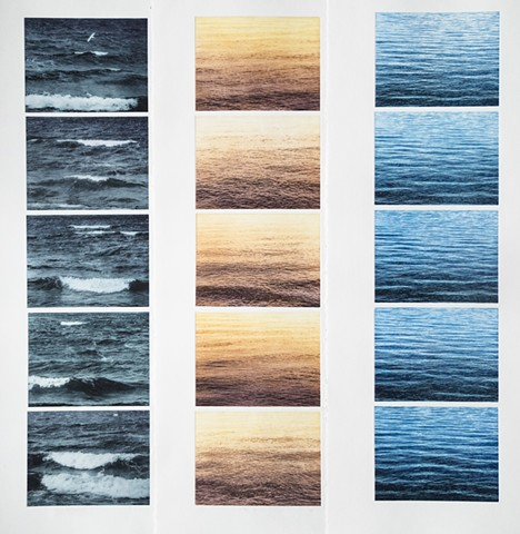 Each of the three prints is a sequence of five photopolymergravure prints showing the waters of Mille Lacs Lake, Minnesota under different times of day and weather. Prints by John Pearson.