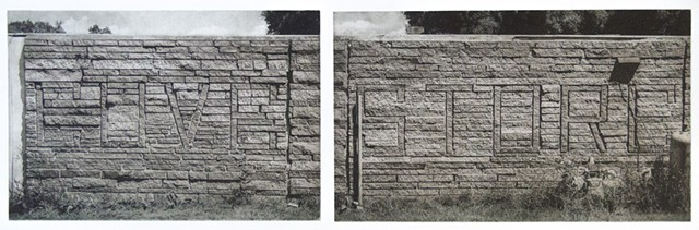 "Stone veneer spells out ""Cove Store"" on a small building near Mille Lacs Lake, Minnesota.Two plate polymer photogravure by John Pearson"