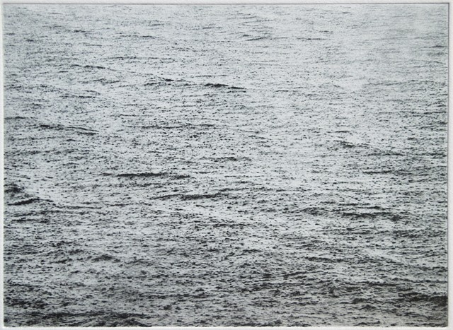 Polymer photogravure intaglio print of rain falling on the surface of Mille Lacs Lake, Minnesota.