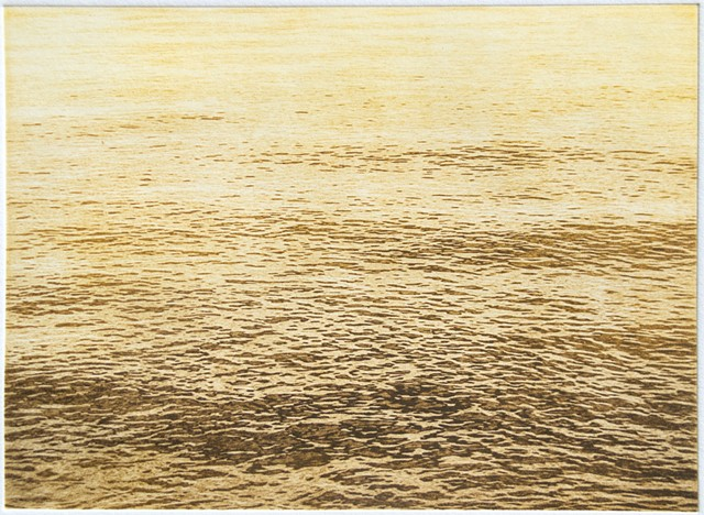 Polymer photogravure intaglio print of the calm sunset surface of Mille Lacs Lake, Minnesota.