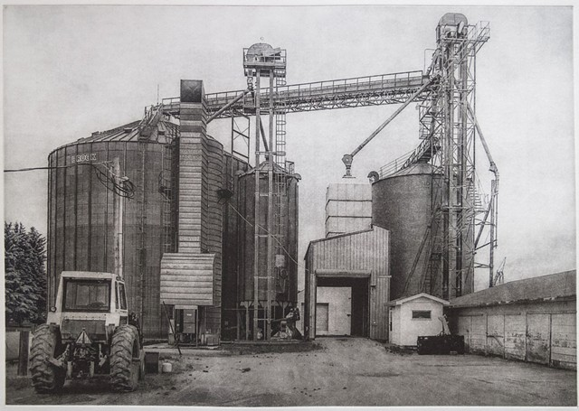 Polymer photogravure intaglio print of grain operation in a small North Dakota town.