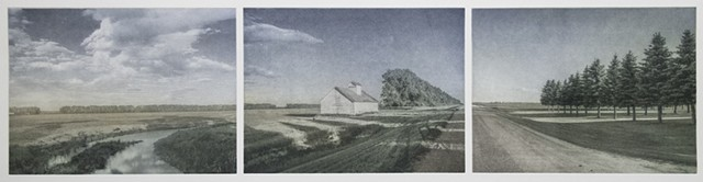 A horizontal North Dakota landscape of a farm buidling, county road, and fields. Three-plate Polymer photogravure print by John Pearson.