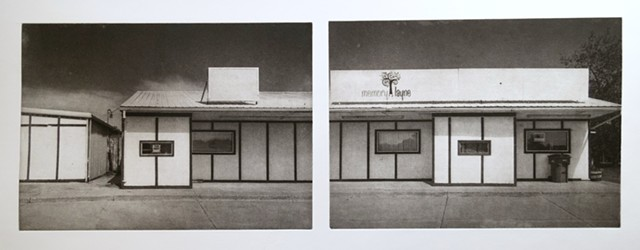 Storefront in Emerado, North Dakota. Two-plate polymer photogravure by John Pearson printed on pescia paper.