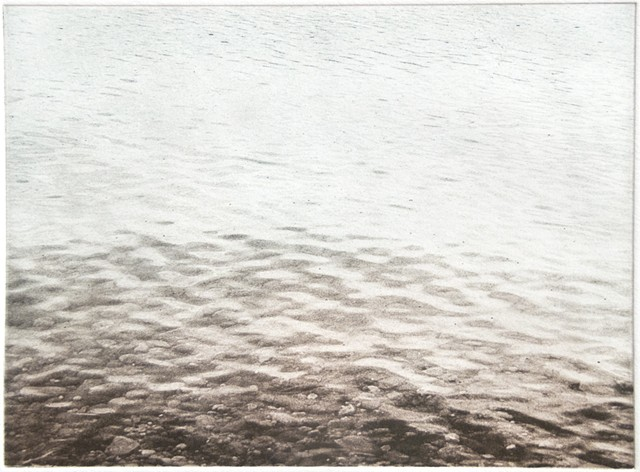 Polymer photogravure intaglio print of the waters edge of Mille Lacs Lake, Minnesota.