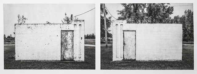Two sides of a small utility structure near Larimore, ND, are shown next to each other. Polymer photogravure intaglio print by John Pearson. other