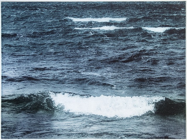 Polymer photogravure intaglio print of whitecaps and waves breaking on Mille Lacs Lake, Minnesota.