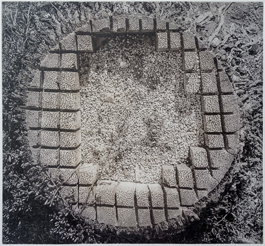 The stump of a palm tree found at Pu'uhonua O Hōnaunau National Historical Park, Big Island, Hawaii. Polymer photogravure print by John Pearson.