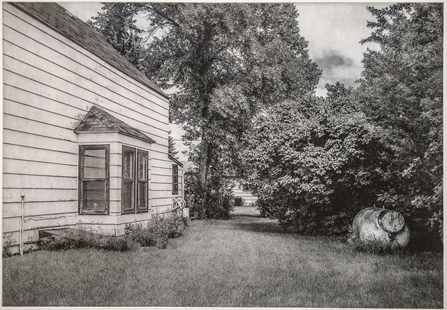Polymer photogravure intaglio print by John Pearson of a residential side yard in a small town in North Dakota.