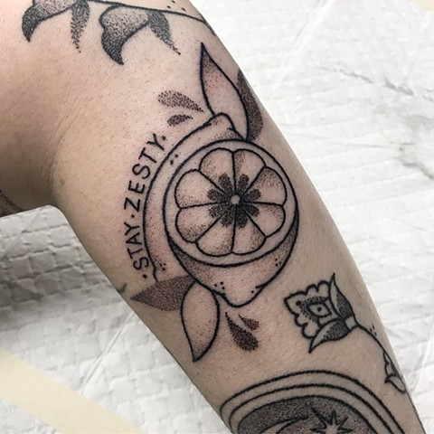 Lemon tattoo by Amy Jones. Hanpoke tattooing. Female tattoo artist in Melbourne. Fun Tattoo ideas. La Flor Sagrada art studio