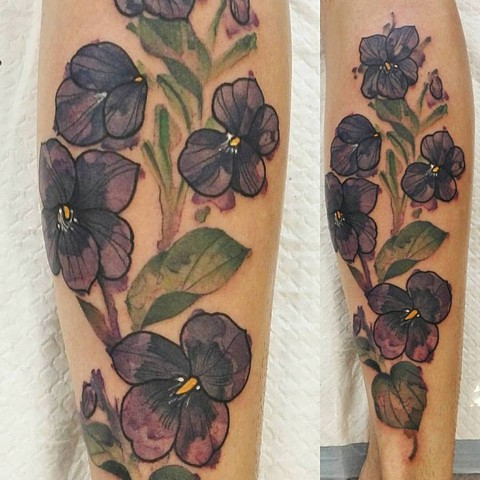 Watercolour style flowers By Tattoo Artist Samantha Sirianni. La Flor Sagrada Tattoo. Melbourne. Australia