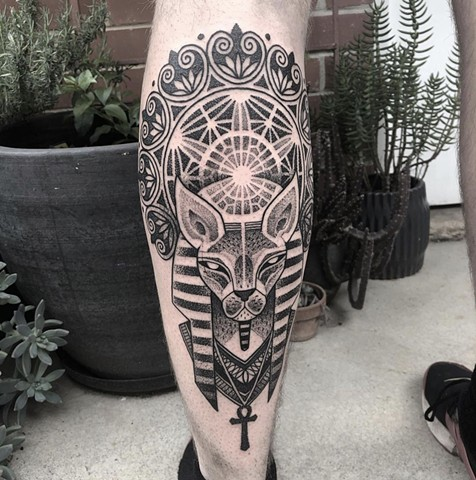 Bastet tattoo design by Ben Lopez. La Flor Sagrada Tattoo studio, located in Coburg, Melbourne. Melbourne tattoo artist. Black work tattoo. Dotwork tattoo. Egyptian tattoo design.