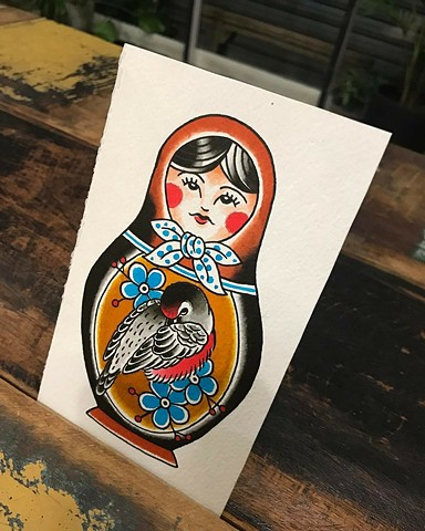 Matriochka doll painting by Andrea Daniel. La Flor Sagrada Tattoo. Coburg. Melbourne. Australia