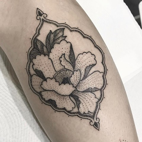 Ornamental flower tattooed by Amy 'Unalome' Jones. La Flor Sagrada Tattoo. Melbourne. Australia