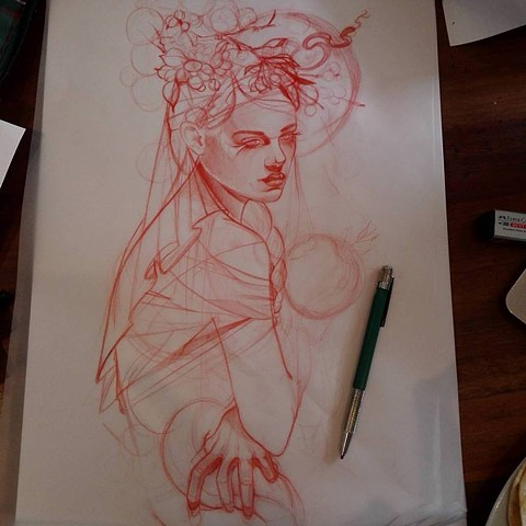 Artwork. Tattoo design sketch by Samantha Sirianni. La Flor Sagrada Tattoo. Melbourne, Australia