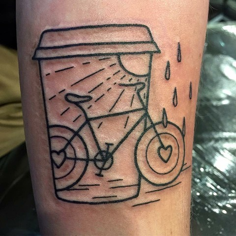 Coffee cup and bicycle design. Tattooist Andrea Daniel. Melbourne, Victoria. Australia