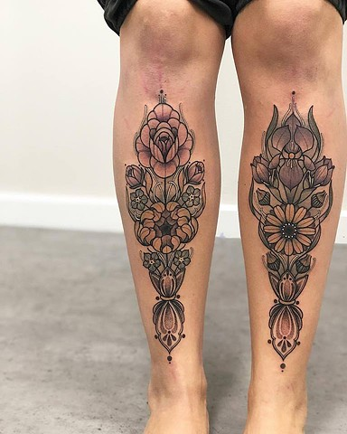 Samantha Sirianni. Floral Tattoo on shins. La Flor Sagrada Tattoo. Melbourne. Australia