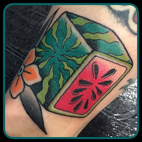 Melbourne tattooist Andrea Daniel. La Flor Sagrada Tattoo. Melbourne. Square watermelon tattoo