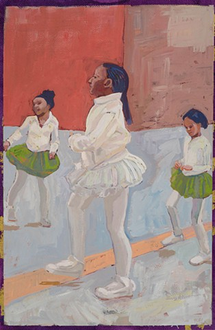 painting on paper. acryl gouache, figures dancing