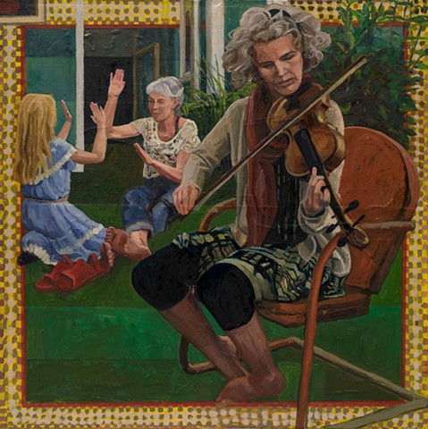 figurative, musician, fiddle, border, pattern, oil on canvas