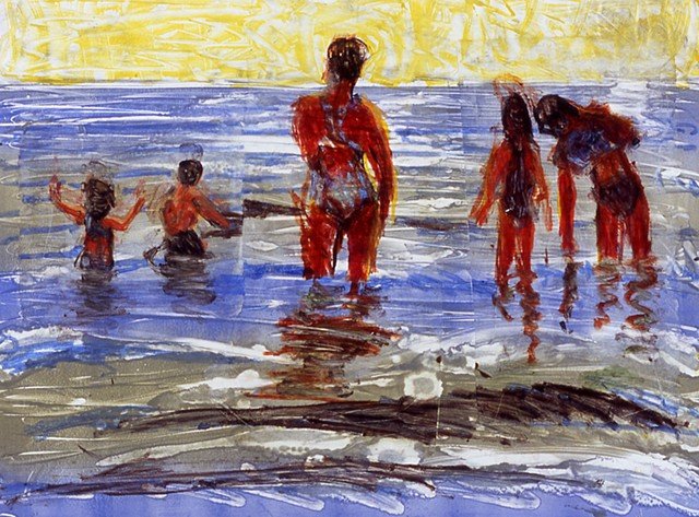 monotype print, beach, figurative,
