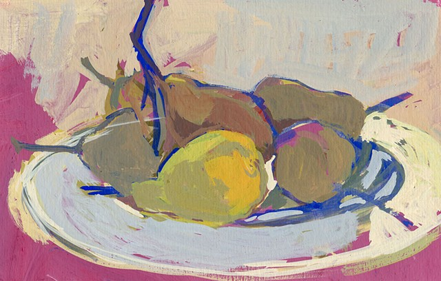 painting on paper. acryl gouache, pears, still life