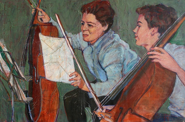 collage, mixed materials, musicians