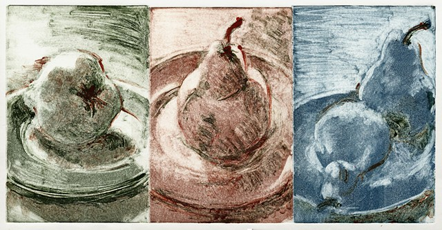 monotype print, triptych, pears